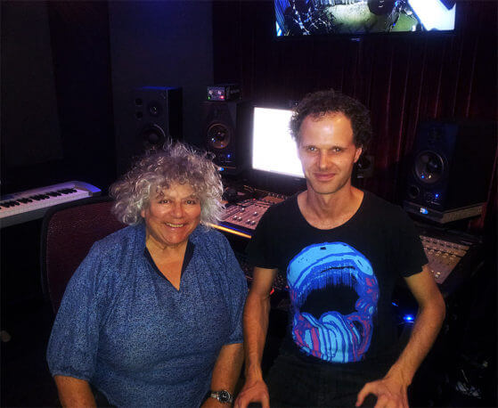 Tom Watson and Miriam Margolyes in the recording studio